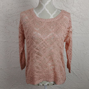 Pink Rose Open Knit Peach Crochet Sweater